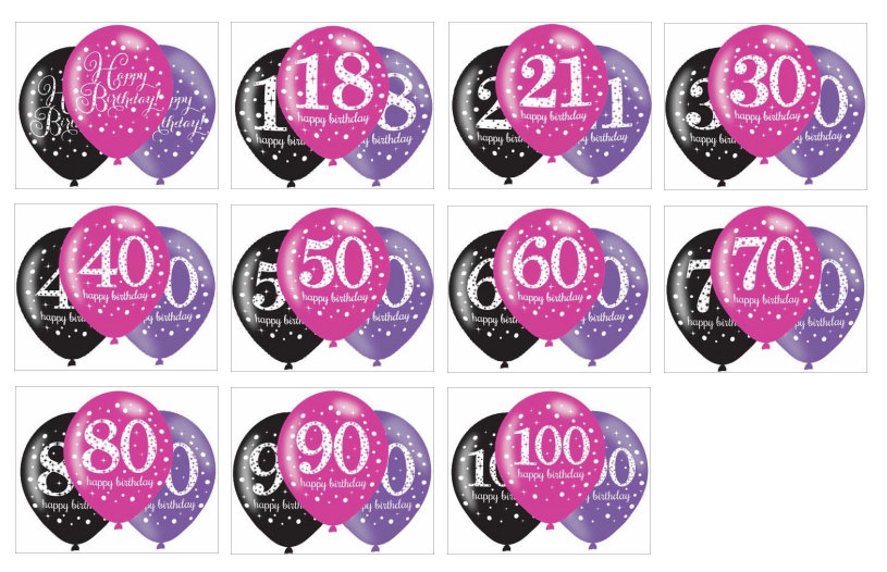 Pack of 6 balloons, pink, purple, black