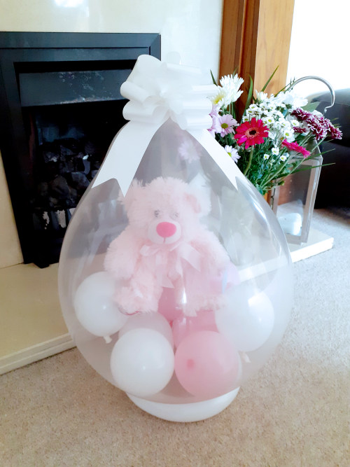 Pink Teddy Bear inside a balloon - Balloon in a Box