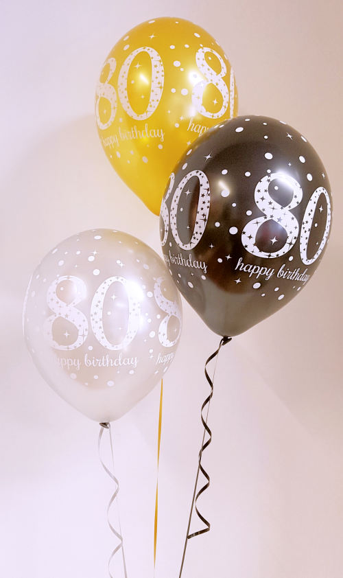 Any age, birthday balloon arrangement, gold, black, silver kit