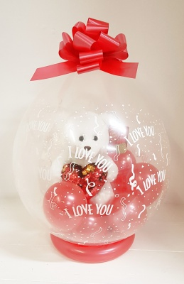 Valentines balloon with Teddy Bear inside