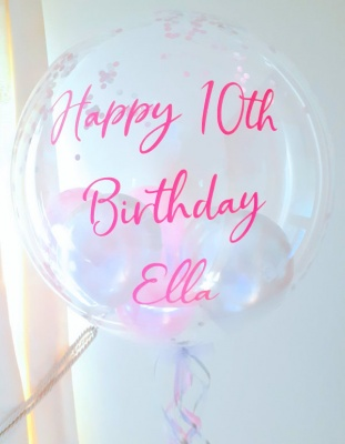 Personalised pink and silver confetti balloon