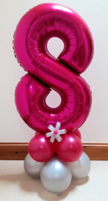 Pink number balloon with balloon base