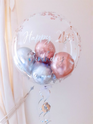 Metallic rose gold and silver, glitz confetti balloon