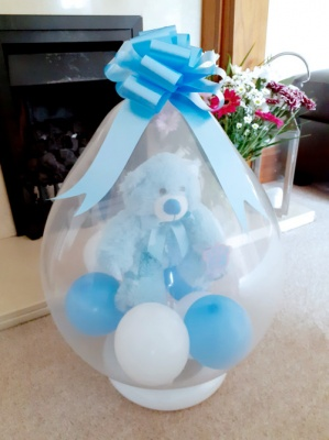 Blue Teddy Bear inside a balloon - Balloon in a Box