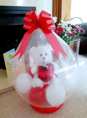 White Teddy Bear inside a balloon - Balloon in a Box