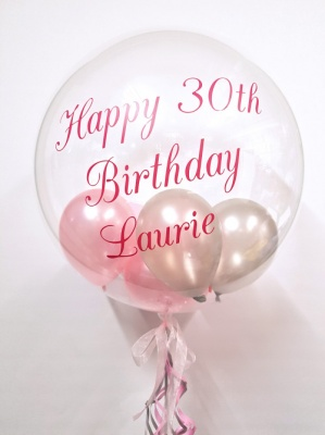 Personalised Balloon, Pink and Silver