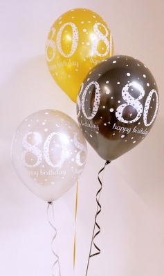 Any age, birthday balloon arrangement, gold, black, silver - inflated